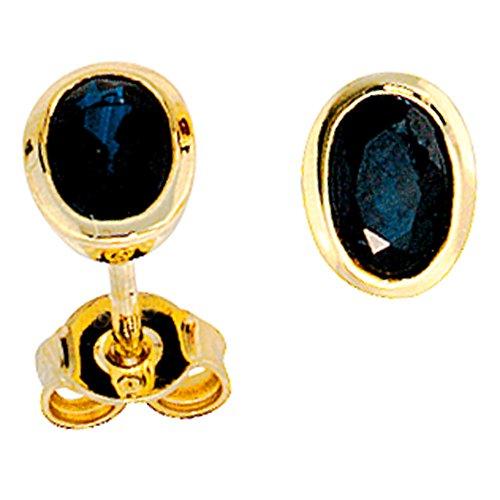 JOBO Damen-Ohrstecker aus 585 Gold mit Safir Oval