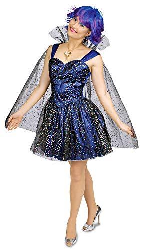Sternenfee Starlight Kostüm für Damen Gr. 40 42 - Wunderschönes sternenbesetztes Kleid mit Umhang für Karneval, Theater oder Mottoparty