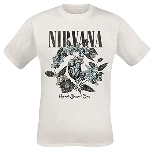 Nirvana Heart Shape Box Hombre Camiseta Blanco M, 100% algodón, Regular