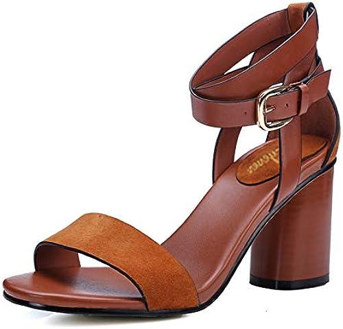 PINGXIANNV PINGXIANNV PINGXIANNV Damensandalen Frauen Sandale Platz High Heel Sommerschuhe Classics Rom Stil Leder Solide Ankle Wrap Sandalen  bis zu 70% sparen