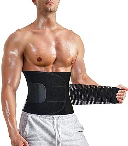 Gotoly Herren Bauchweggürtel Fitnessgürtel Body Shaper Abnehmen Schwitzgürtel Fettverbrennung Taillenmieder Verstellbarer Neopren Sauna Gürtel Gewichthebergürtel Rückenbandage (Schwarz mit Band, XL)