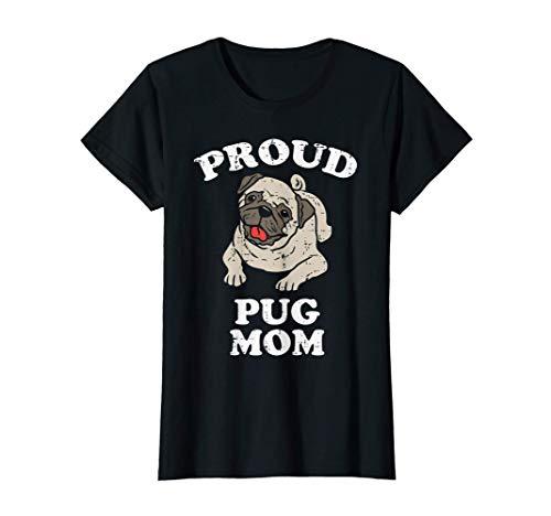 レディース プラウド パグ ママ 動物 ペット 犬 飼い主 恋人 ママ 女性 ギフト Tシャツ