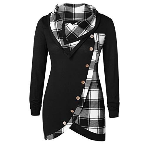 Femme Sweatshirt Col Haut Capuche Veste Chic Hiver Treillis Imprimé Plaid, Manteau Pullover Blouson Tops Mode Pull Femme Pas Cher A La Mode (Z-Noir, XXXL)