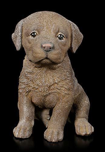 Sitzende Hunde Figur - Schoko Labrador Welpe | Tier-Figur, handbemalt
