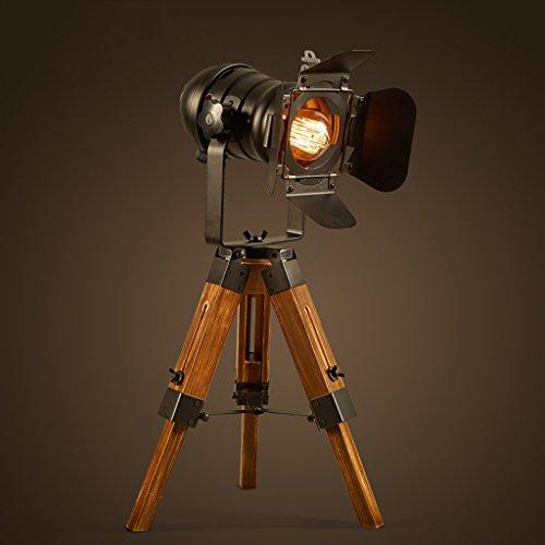 Ywyun lampes industrielles américaines rétro en bois, lampes de chevet caméra créative évolutive, chambre lampe de table trépied bureau lecture