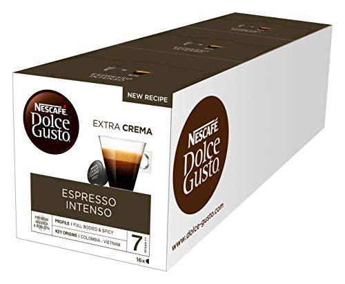 NESCAFÉ Dolce Gusto Espresso Intenso | 48 Kaffeekapseln | Arabica und Robusta Bohnen | Geschmack roter Sommerbeeren und rosa Pfefferbeeren | Aromaversiegelte Kapseln | 3er Pack (3 x 16 Kapseln)