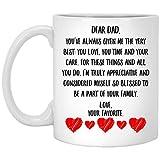 N\A Mensaje del día del Padre para papá en la Ley verdaderamente Agradecido y considerado Tan Bendecido por ser Parte de su Familia Taza de café con Leche 11 oz