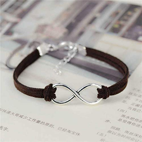 JJDSL Armband, Mode Infinity Seil Bracelet Hand-Woven Koreanischen Samt Leder Mode Wrap Leder Schmuck Frauen Männer
