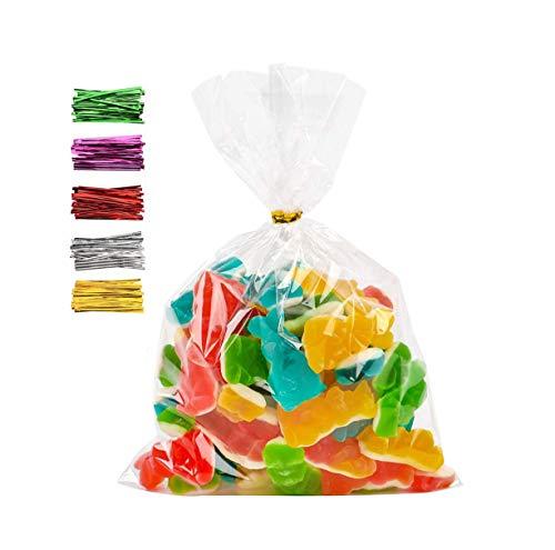 100 piezas Bolsas de celofán transparentes,bolsas de celofán para envolver,bolsas para chuches comunion,bolsas de galletas de navidad,bolsas de regalo plastico,(200 x 300 mm)