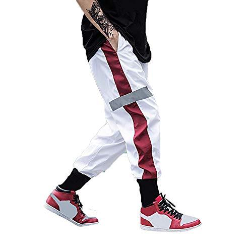 usmley Pantalones deportivos para hombre, para correr, chándal fino con cremallera y doble bolsillo blanco XXL