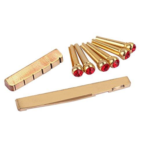 6 Stück Akustische Gitarre Bridge Pins mit Gitarre Sattelmutter, DIY Zubehör