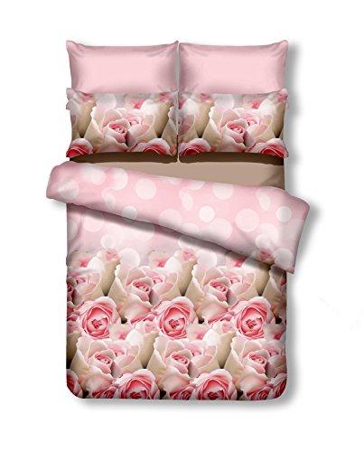 DecoKing 200x220 cm Bettwäsche mit 2 Kissenbezügen 80x80 Bettbezüge Microfaser Reißverschluss Blumen Adam Emerald rosa beige
