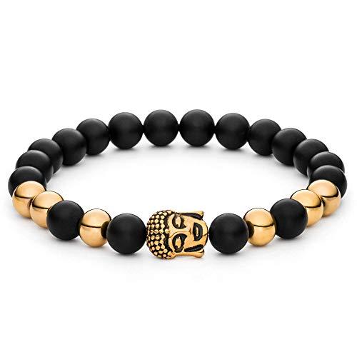 Aura Design Chakra Armband - 7 Chakra Perlenarmband für Damen und Herren - edle Naturperlen - Yoga Armband - Meditation - Buddha Armband - Stein Armband (Schwarz-Gold)