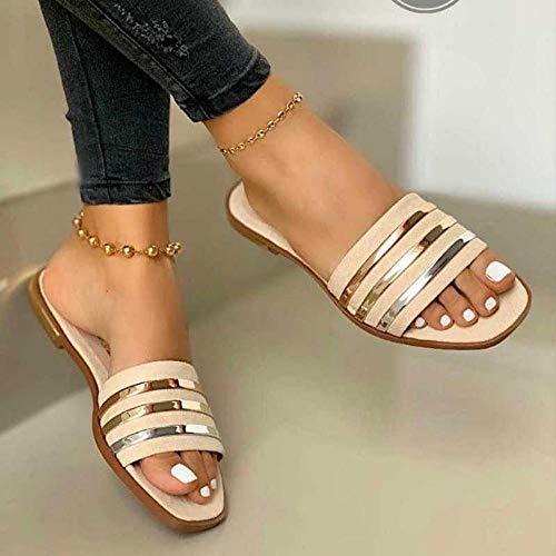 YYFF Zapatos de Playa y Piscina para,Zapatillas Planas cómodas,Sandalias Planas-Beige_37,Sandalias con Plataforma Plana Hombre