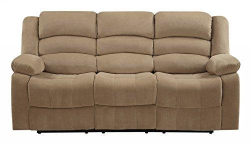 Blackjack Furniture Winthrop Microfiber Modern Reclining Living Room, Sofa, Livingroom, Khaki Beige