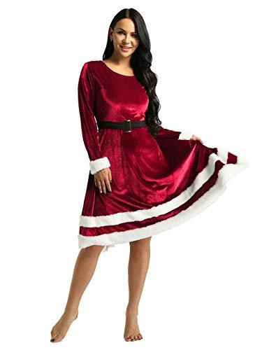 IEFIEL Vestido Invierno de Fiesta Navidad para Mujer Vestido Elegante Manga Larga Traje Terciopelo Disfraz Mamá Noel Traje de Miss Santa Claus Fancy Dress Rojo XX-Large
