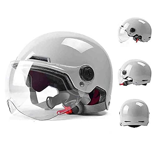 LUNANA Casco de Motocicleta Eléctrico, Adultos Profesional Jet Helmet con Visera, ECE...