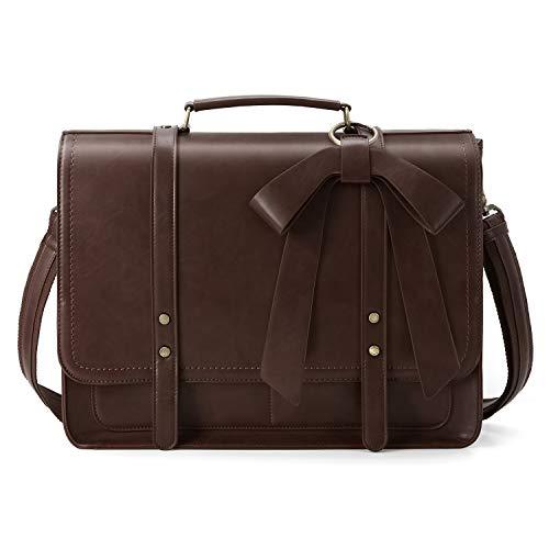 ECOSUSI Aktentasche Damen Laptoptasche 15,6 Zoll Vintage Umhängetasche mit Abnehmbarer Schleife Schultasche Kaffee