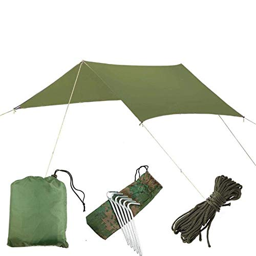 YXDEW Beach tent UV Protection 9.8x9.8 Feet Hammock Tarp Cover Tent Waterproof Rain Fly Tarp Shelter With Stakes Ropes Survival Gear Kit For Outdoor Travel Backpacking Fishing Beach camping