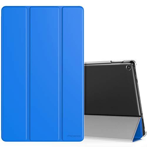 MoKo Smart Cover per Nuovo Amazon Fire HD 10 Tablet (Modello di 9ª Gen 2019 & 7ª Gen 2017) - Custodia Sottile Leggera con Retro Semi-trasparente Rigido per Nuovo Amazon Fire HD 10, Blu