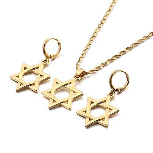 Israel estrella hexagrama colgante collares pendientes Magen David Hexagonal estrella conjuntos de joyas tantrismo estrella judía sello de Salomón