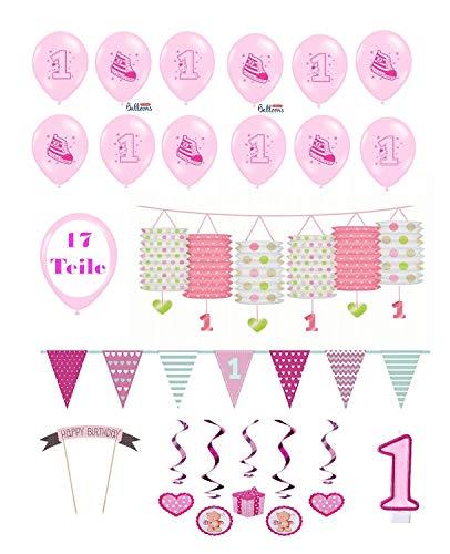 Feste Feiern Kindergeburtstag Mädchen erster 1. Geburtstag 17 Teile Deko-Set Luftballon Wimpel Laterne Hängedeko rosa pink bunt Happy Birthday kleine Prinzessin