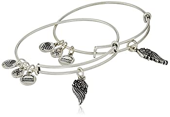 Alex and Ani  Path of Symbols  Wings Set of 2 Silver Expandable Wire Bangle Charm Bracelet