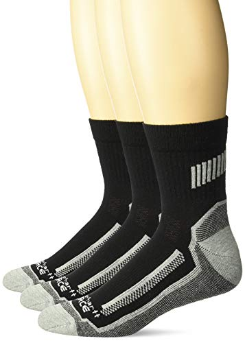 Carhartt Men's Force Performance Work Short Boot Crew Socks, Black, Shoe Size: 6-12