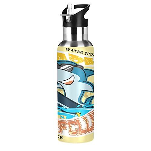 Lindo Bebé Tiburón Dibujos Animados Pez Botella de Agua Deportiva con Pajita Acero Inoxidable, 600ML Botellas Termica Sin BPA para Niños Deporte Gimnasio Ciclismo Escuela