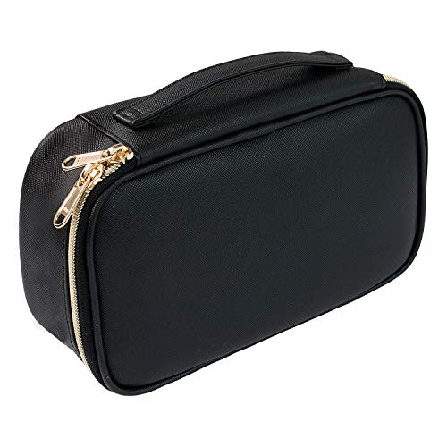 Small cosmetic bag,Portable Cute Travel Makeup Bag for Women and girls Makeup Brush Organizer cosmetics Pouch Bags-Black