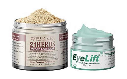 Glamorous Hub Bella Vita Combo orgánico debajo de los ojos para ojeras, ojos hinchados, crema antiarrugas para mujeres y hombres con paquete facial de 21 hierbas en polvo para piel radiante