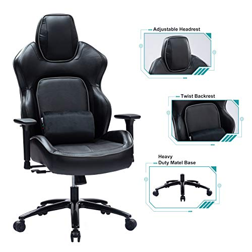 Blue Whale Massage Gaming Chair with Twist Backrest,Metal Base,Thickened Seat Cushion,Adjustable Aluminum Alloy Armrest and Headrest, Swiving PU Leather Computer Desk Racing Chair (8357-1 Grey)