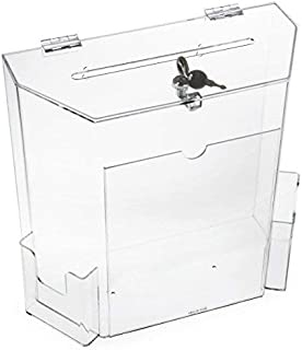 Charity Donation Acrylic Ballot Box w/Display Frame, Lock & 2 Pockets, Wall mounting or Tabletop (Clear, Small)
