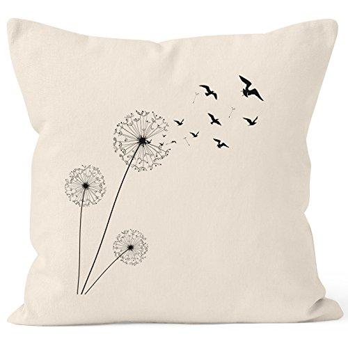 Autiga Kissenbezug Kissen-Hülle Pusteblume Birds Dandelion Vögel 40x40 Deko-Kissen Baumwolle Natur 40cm x 40cm