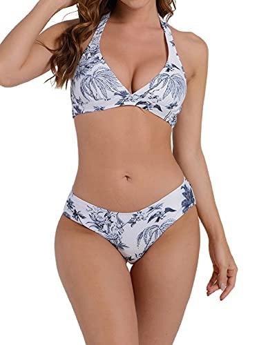 CMTOP Donna Costume da Bagno Sexy Halter Push Up Imbottito Bikini Due Pezzi Swimwear Bikini Costume Sportivi Sexy Reggiseno Mare Triangolo Twisted Bandeau Costumi Regolabile Spiaggia Beachwear