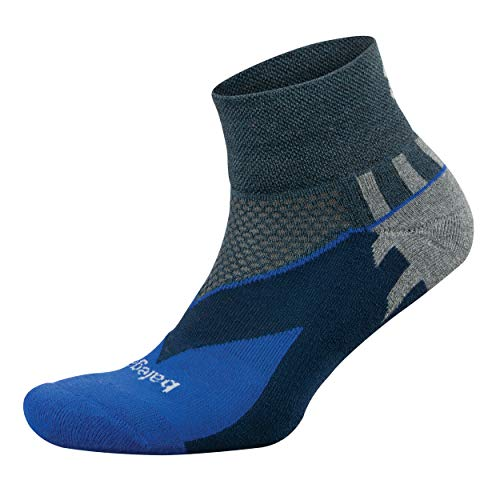 Balega Enduro V-Tech Quarter Socks For Men and Women (1 Pair), Charcoal/Cobalt, X-Large