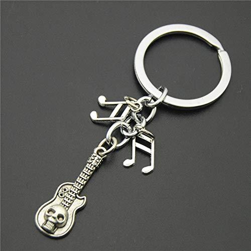 WANGWL 1 stücke Antike Silberne Schädel Gitarre Musik Schlüsselanhänger Musikalische Anhänger Skeleton Keyring DIY Für Geschenke