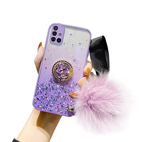 Compatible con Samsung Galaxy A51 Funda Purpurina Girly Case Bling Bling Glitter Estrella Diseño + Anillo Soporte Móvil Diamante Glitter Brillante Carcasa Silicona TPU Gel Suave Bumper,Púrpura