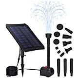 Solar Fountain Pump with Panel, CasaTimo Bird Bath Fountain Solar Powered with Battery Backup 6 Nozzles, 3 Operating Modes with Colorful LED for Outdoor Pond Patio Garden Pool Fish Tank, Night Work