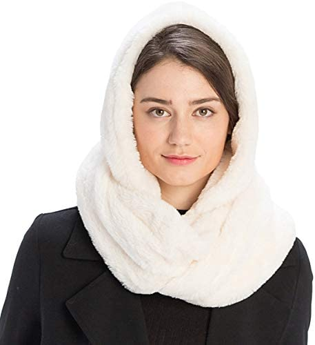 Scarf Hat Women Winter Super Soft Fur Warm Max 87% OFF Hooded Faux Fort Worth Mall Infinity