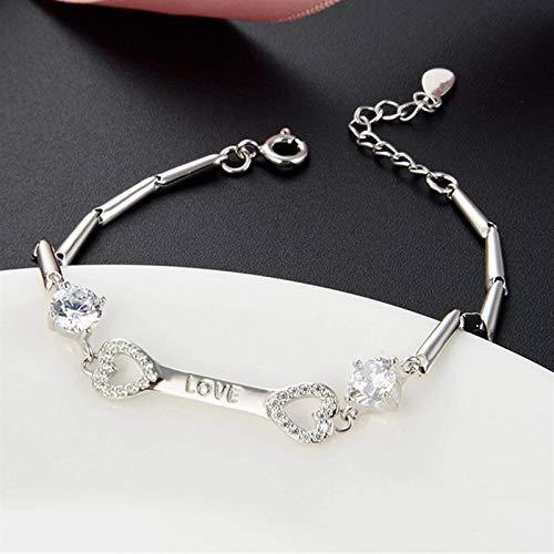 Lucky Feng Shui pulsera S925 Doble llave de amor con forma de diamante Accesorios de circón de diamantes Elegante Pequeño temperamento de fragancia Buena suerte Atrae el amor de la flor de durazno por