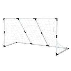 Perfect for shooting practice, this goal is great for football games in the garden or park Made from strong high grade plastic. No screws required. Includes Football Goal, Pump and Ball Goal size (assembled): W: 182cm x H:88cm x D:60cm Recommended fo...