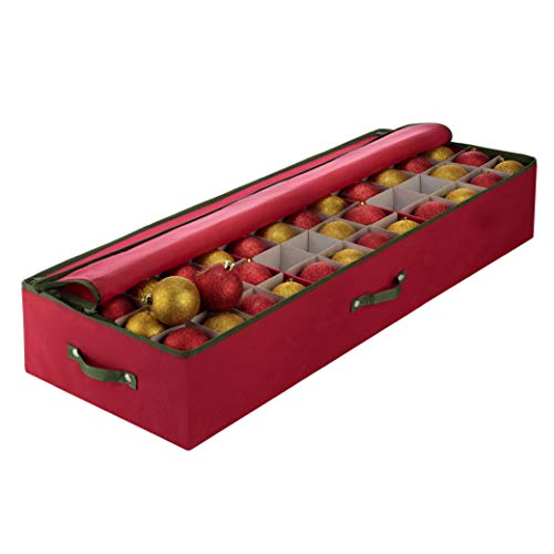 Large Under-bed Christmas Ornament Storage Box Zippered Closure - Stores up to 120 of the 3-inch Standard Christmas Ornaments, and Xmas Holiday Accessories Storage Container with Dividers & 3 Handles.