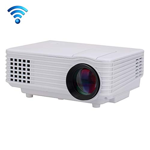 JIN Projector RD-805 Android WiFi LED Projector 800LM 800x480 Home Theater with Remote Controller, Support HDMI, VGA, AV, USB Interfaces(Black) (Color : White)