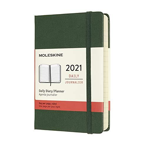 Moleskine - Agenda Giornaliera 12 Mesi 2021, Daily Planner 2021, Copertina Rigida e Chiusura ad Elastico, Formato Pocket 9 x 14 cm, Colore Verde Mirto, 400 Pagine