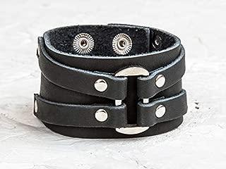 Leather Life 910, Oval Leather Bracelet, Black Wide Cuff, Gothic Bangle, Men Women Wristband Arm Wrap Bracelet Unisex Personalized Rock Cuff 3132bl