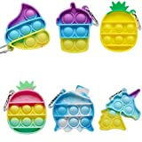 6 Pcs Mini Pop Fidget Simple Dimple Toy,Mini Push Pop Fidget Toy Keychain,Mini Rainbow Tie dye...