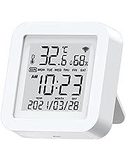 WiFi-temperaturfuktighetsmätare hygrometer termometer-sensor med LCD-display stöd från Alexa Google (White)