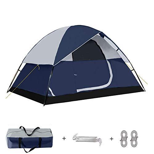 Tienda Techo Doble Capa Ultraligeras Carpa Impermeable Anti-UV 2~4 Personas para Campamento Mochilero Senderismo Al Aire Libre Instalación Fácil,Blue