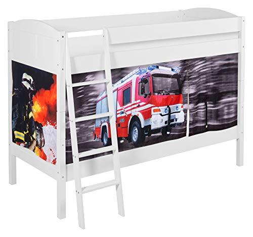 Lilokids Etagenbett IDA 4106 Feuerwehr - Teilbares Systembett weiß - mit Vorhang und Lattenroste